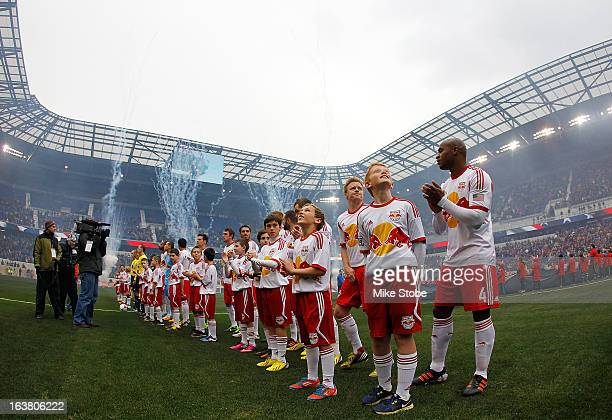New York Red Bulls looks on during the national anthem prior to their game against the DC United at Red Bull Arena on March 16 2013 in Harrison New...