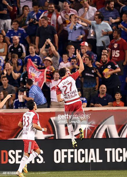 New York Red Bulls midfielder Sean Davis celebrates after scoring against Chelsea during their International Champions Cup match at the Red Bull...