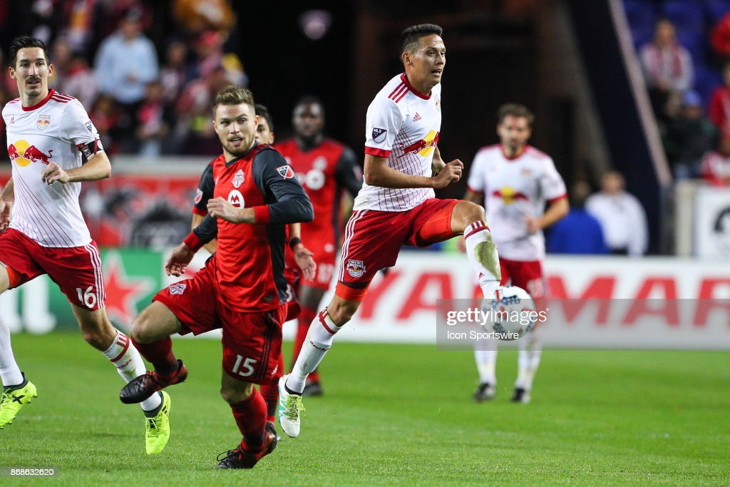 New York Red Bulls midfielder Sean Davis (27)controls the ball in the air during the first half of the MLS Cup Playoff game between the New York Red Bulls and Toronto FC on October 30, 2017, at Red Bull Arena in Harrison, NJ.