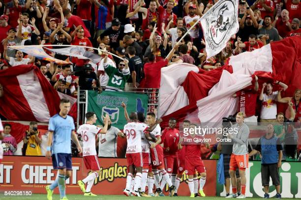 New York Red Bulls players and fans celebrate a goal by Gonzalo Veron of New York Red Bulls during the New York Red Bulls Vs New York City FC MLS...