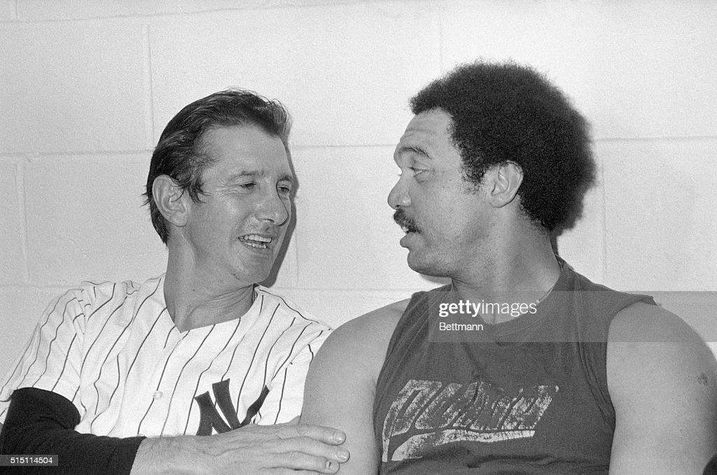 Reggie Jackson of the Yanks hugs manager Billy Martin after the Bronx Bombers won the World Series by defeating the Los Angeles Dodgers 84 in the 6th...