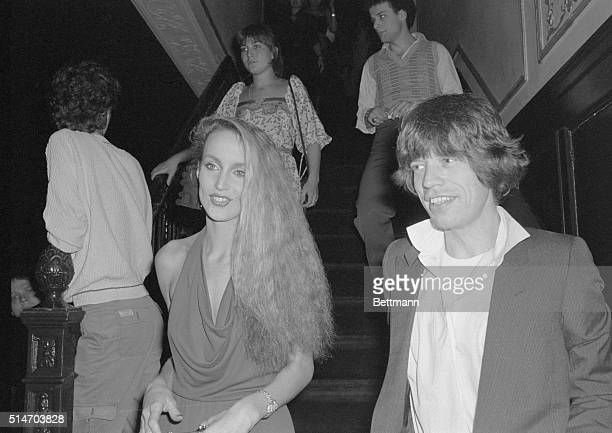 Rock star Mick Jagger and model Jerri Hall are a twosome at Studio 54 popular New YOrk disco Apr 3rd They were among those attending an 'Oscar' party...