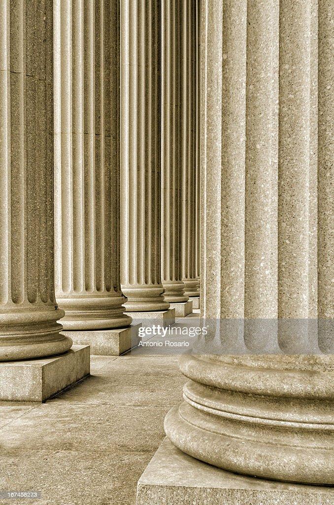 USA, New York, Row of building columns