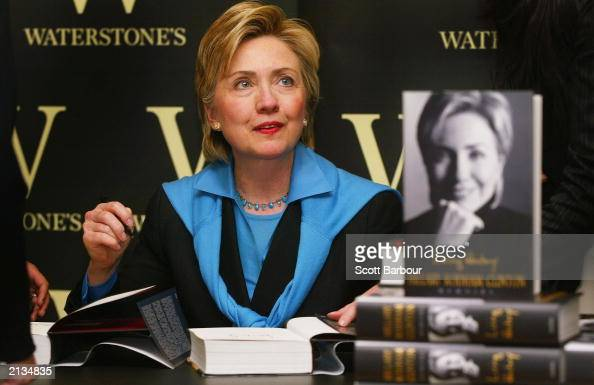 New York Senator and former First Lady Hillary Rodham Clinton signs copies of her autobiography 'Living History' at Waterstones bookstore on July 3...