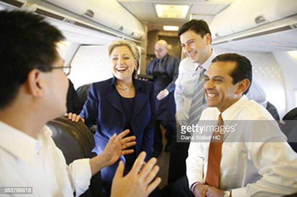 New York Senator and US Democratic presidential hopeful Hillary Rodham Clinton on a plane with California Controller John Chiang California State...