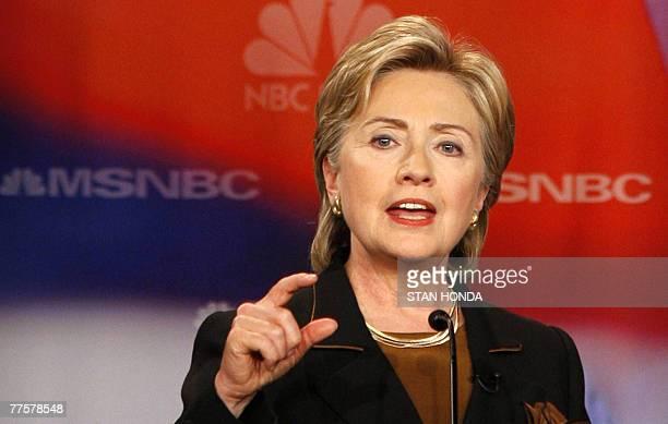New York Senator Hillary Rodham Clinton speaks during the NBC Democratic Presidential Candidates Debate 30 October 2007 at Drexel University in...