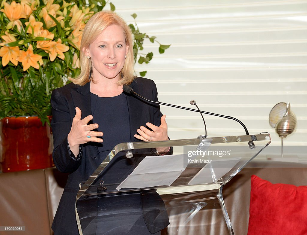 New York Senator <a gi-track='captionPersonalityLinkClicked' href=/galleries/search?phrase=Kirsten+Gillibrand&family=editorial&specificpeople=4099377 ng-click='$event.stopPropagation()'>Kirsten Gillibrand</a> speaks at Marie Claire's Women Taking The Lead Luncheon at Marea on June 10, 2013 in New York City.