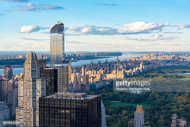 New York skyline and attractions One57 building with its splendid modern architecture in the skyline of New York City as seen from the Rock...