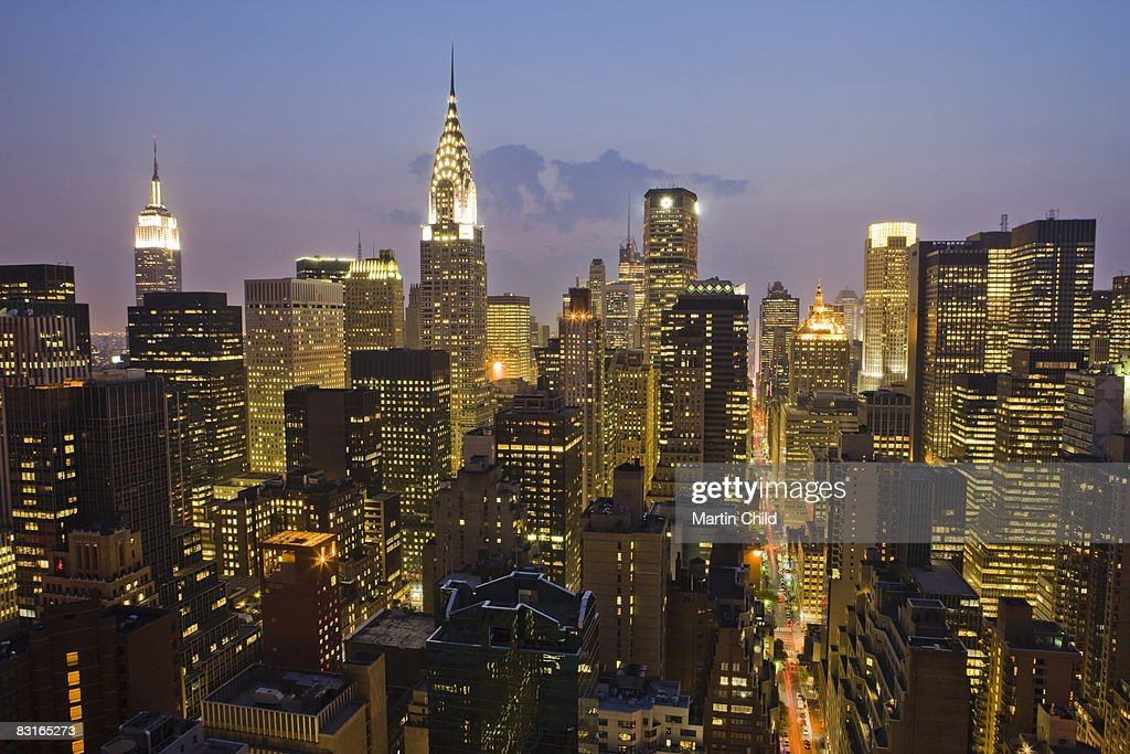 New York skyline at night : Stock Photo