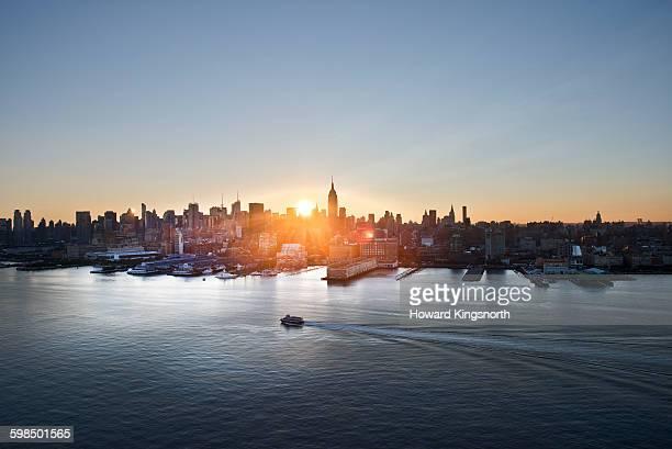 New York skyline at sunrise looking East