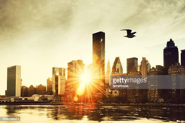 New York City Skyline bei Sonnenuntergang vom Roosevelt Island.
