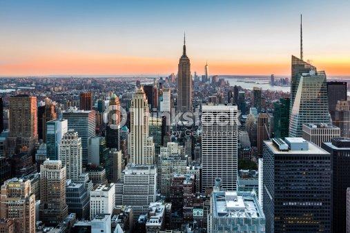 New york skyline au coucher du soleil photo thinkstock - Coucher du soleil new york ...