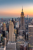 New York City Skyline at sunset - Midtown and Empire State Building