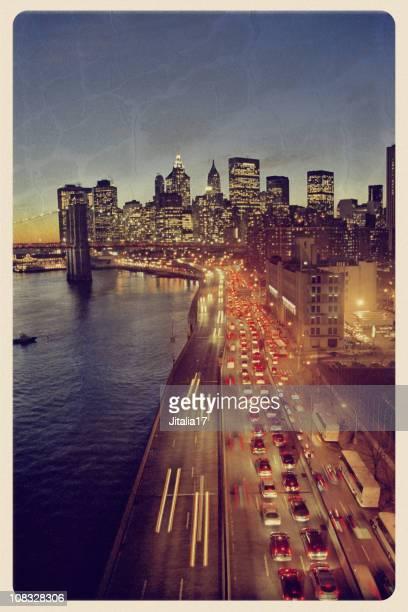New York Skyline - Vintage Postcard