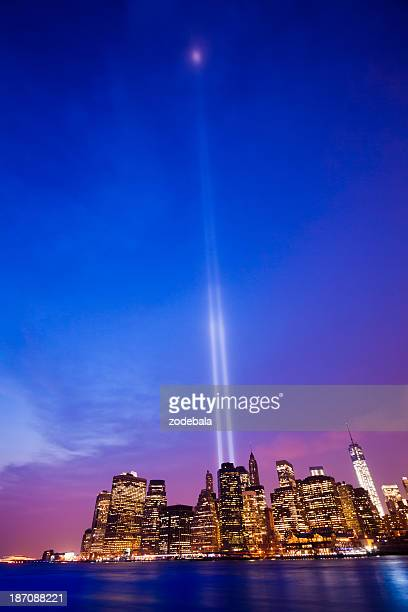 New York Skyline with 11 September Lights at Dusk