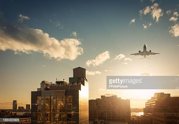 New York Skyline with airplane