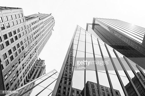 New York skysrapers in perspective from below : Stock Photo
