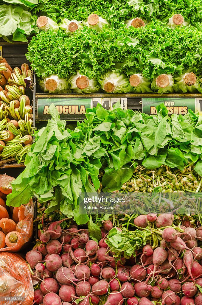 USA, New York, Stack of fresh vegetables : Stock Photo