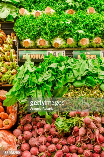 USA, New York, Stack of fresh vegetables : Stock Photo