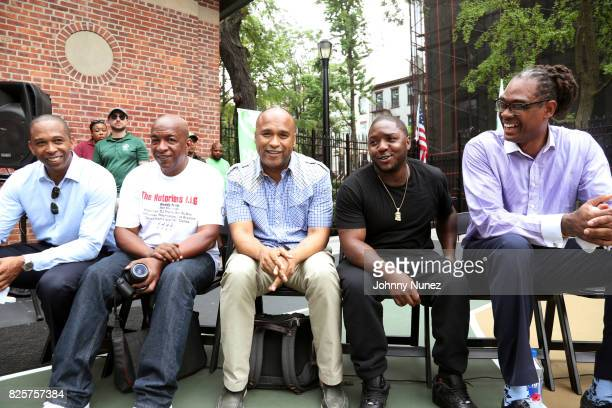New York State Assemblyman Walter T Mosley Uncle Ralph McDaniels L Londell McMillan Lil Cease and NYC Council Member Robert E Cornegy Jr attend the...