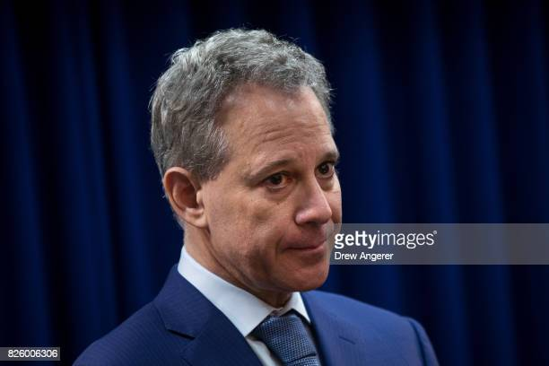 New York State Attorney General Eric Schneiderman looks on during a press conference to call for an end of Immigration and Customs Enforcement raids...