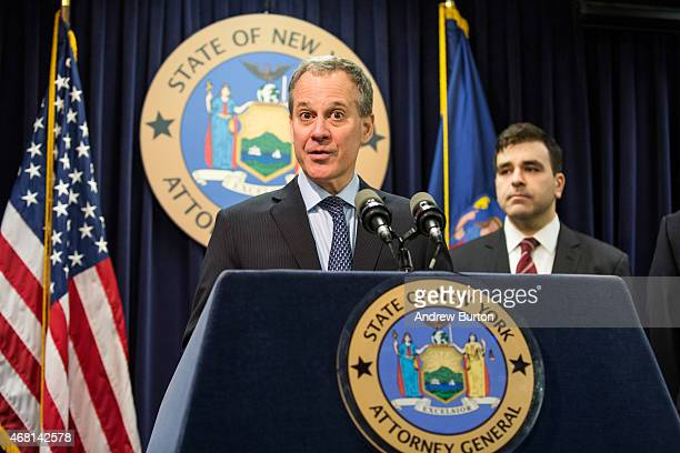 New York State Attorney General Eric Schneiderman speaks at a press conference announcing new guidelines and testing standards that GNC will adhere...