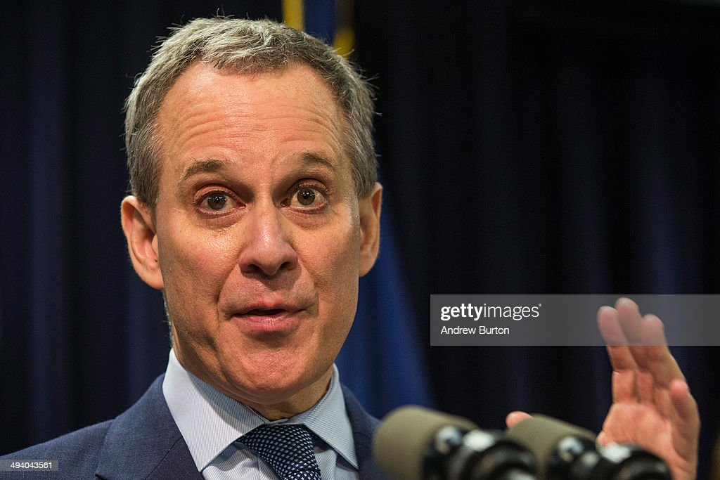 New York State Attorney General Eric Schneiderman speaks at a press conference about a new community prevention program for heroin overdoses in which New York City police officers will carry kits with Naloxone, an heroin antidote that can reverse the effects of an opioid overdose, on May 27, 2014 in New York City. The New York Police Department is being provided 19,500 kits for officers; the program will begin after officers receive training. The Naloxone is administered nasally.