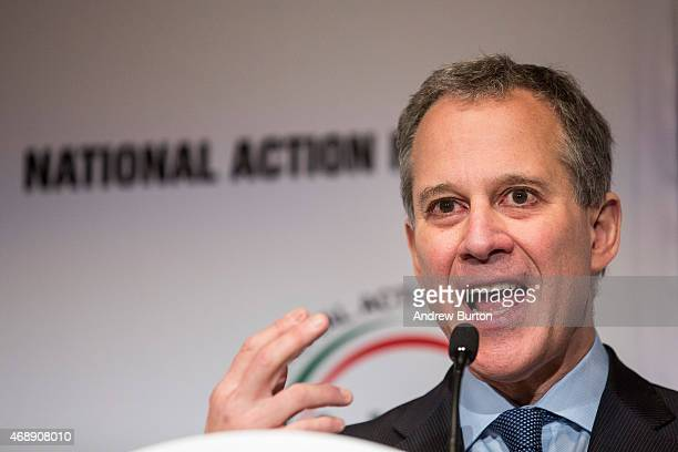 New York State Attorney General Eric Schneiderman speaks at the National Action Network national convention on April 8 2015 in New York City Reverend...