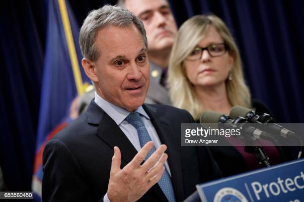 New York state Attorney General Eric Schneiderman speaks during a news conference to announce the take down of a large organized crime ring March 15...
