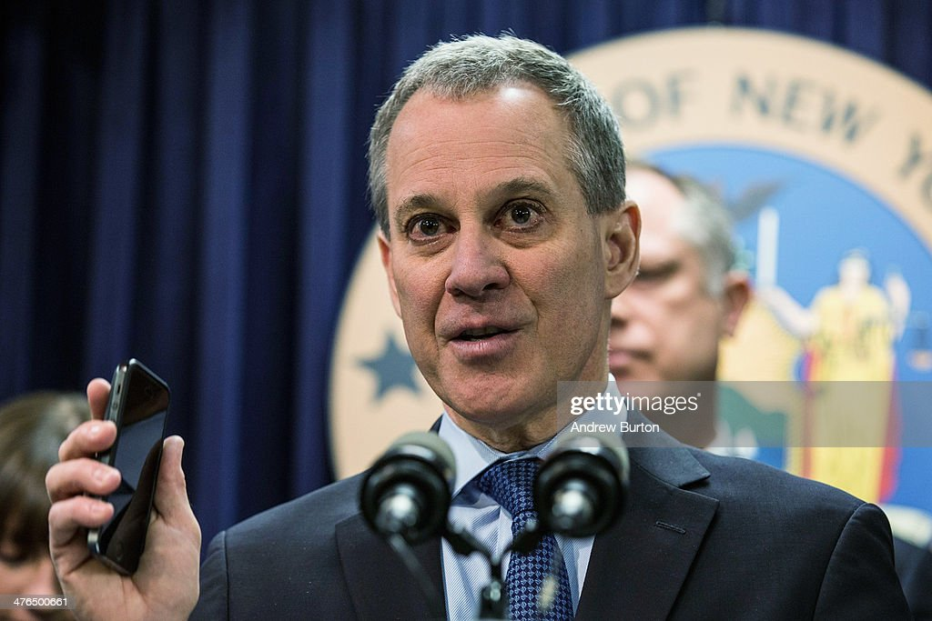 New York State Attorney General Eric T. Schneiderman speaks at a press conference introducing new legislation that would require smartphone manufacturers to create a 'kill switch' for people to deactivate their phones if they are stolen, on March 3, 2014 in New York City. The bill is being introduced by U.S. Rep. Jose E. Serrano (D-NY) with the support of New York City Police Commissioner Bill Bratton.