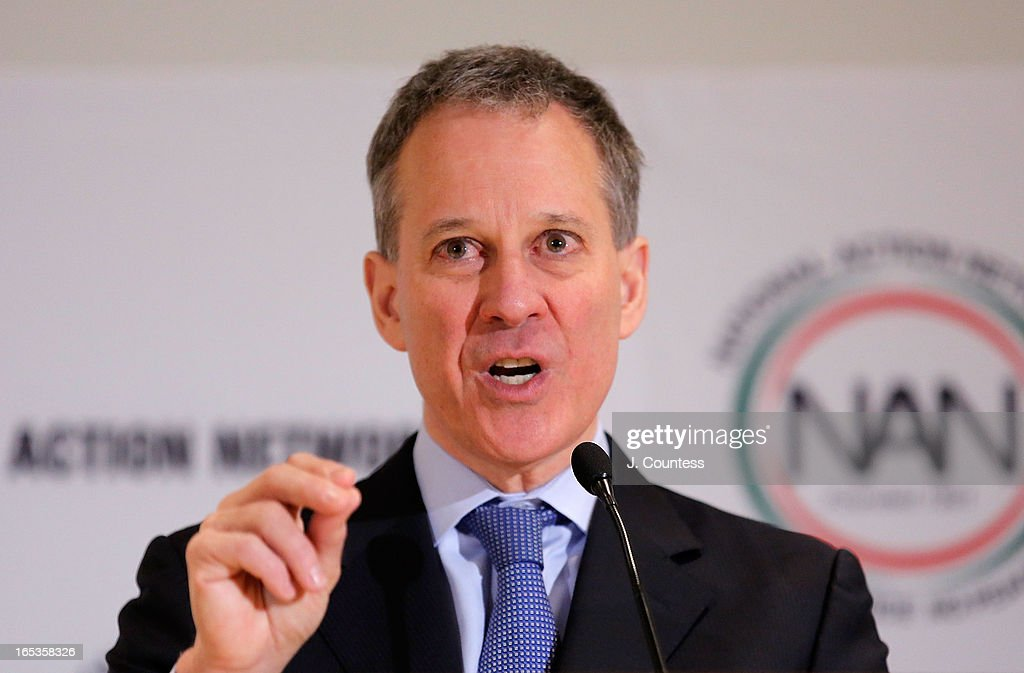 New York State Attorney General Eric T. Schneiderman speaks prior to the panal 'Gun Violence: Addressing Real Reform' during the 2013 NAN National Convention Day 1 at New York Sheraton Hotel & Tower on April 3, 2013 in New York City.