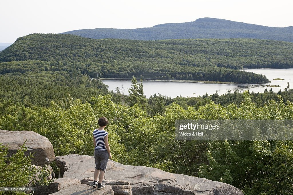 USA, New York State, Catskill, young woman looking at view standing on rock, rear view