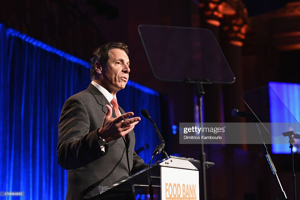 New York State Governor Andrew M Cuomo speaks during the Food Bank For New York City Can Do Awards Dinner Gala at Cipriani Wall Street on April 21...