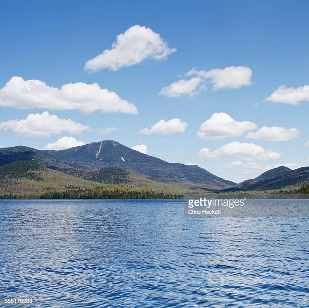 USA, New York State, Lake Placid, Scenic view of lake and mountain