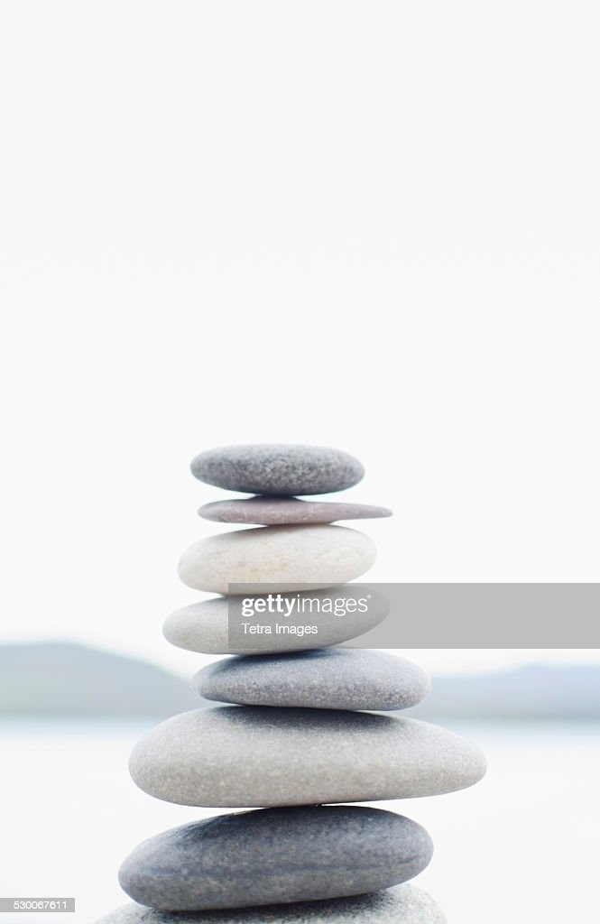 USA, New York State, Lake Placid, Stacked pebbles : Stock Photo