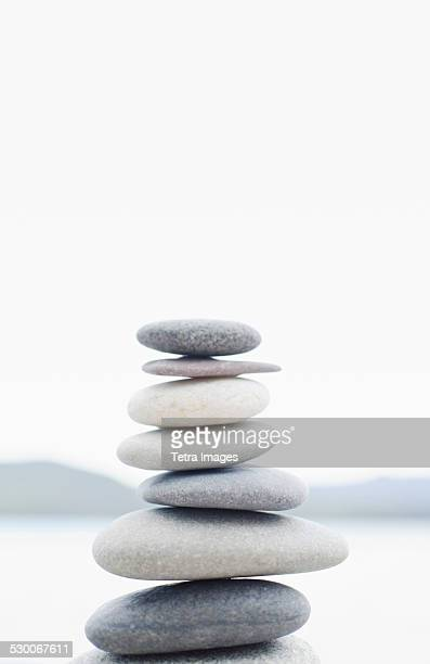 USA, New York State, Lake Placid, Stacked pebbles