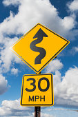 USA, New York State, Low angle view of road sign
