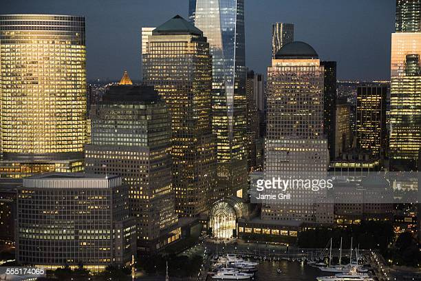 USA, New York State, New York City, Aerial view of Manhattan and One World Trade Center