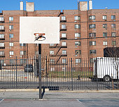 USA, New York State, New York City, basketball playground