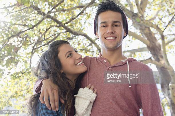 USA, New York State, New York City, Brooklyn, Portrait of young couple in park