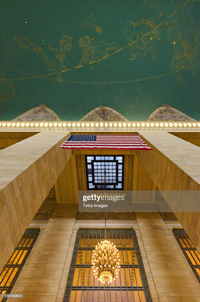 USA, New York State, New York City, Ceiling in Grand Central Station