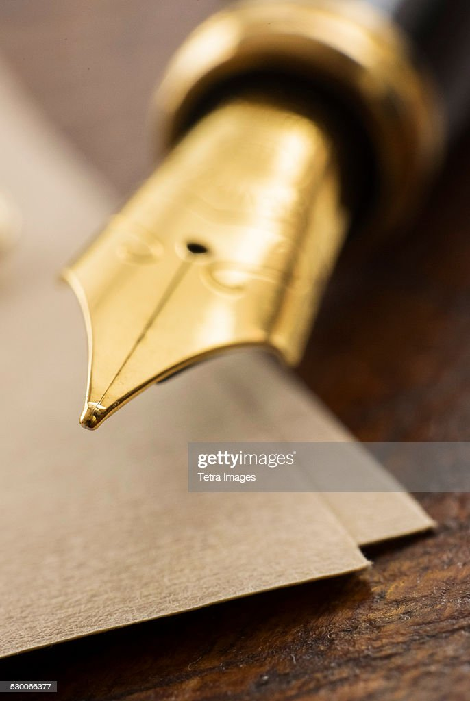 USA, New York State, New York City, Close up of fountain pen