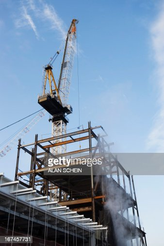 USA, New York State, New York City, Crane at construction site : Stock Photo