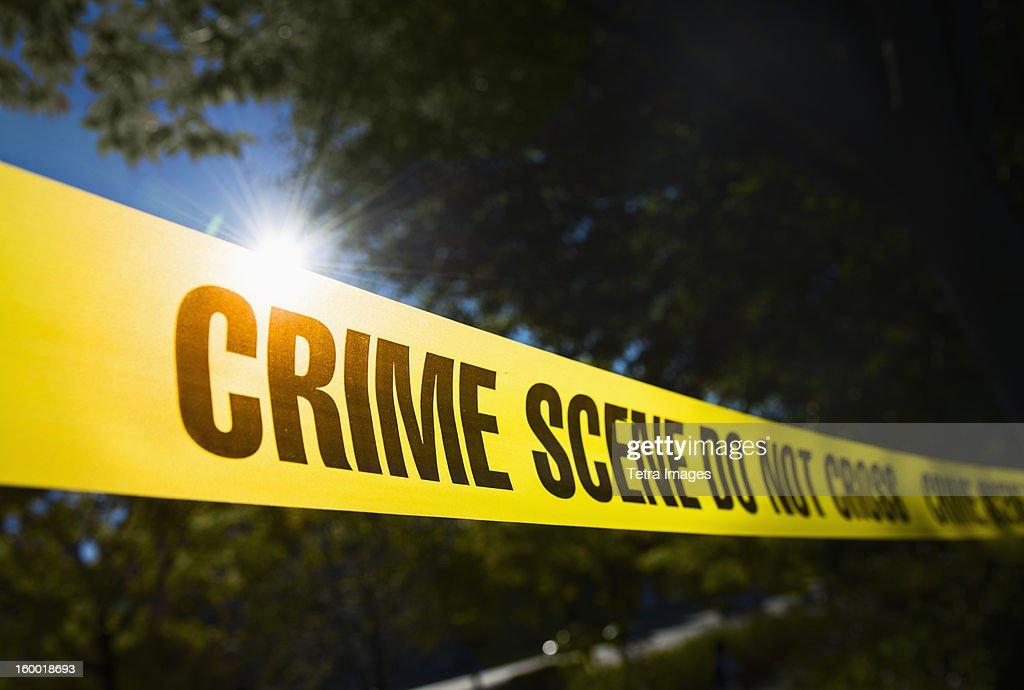 USA, New York State, New York City, Crime scene barrier tape : Stock Photo