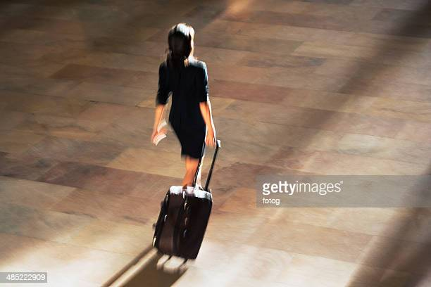 USA, New York State, New York City, High angle view of woman walking at Grand Central Station