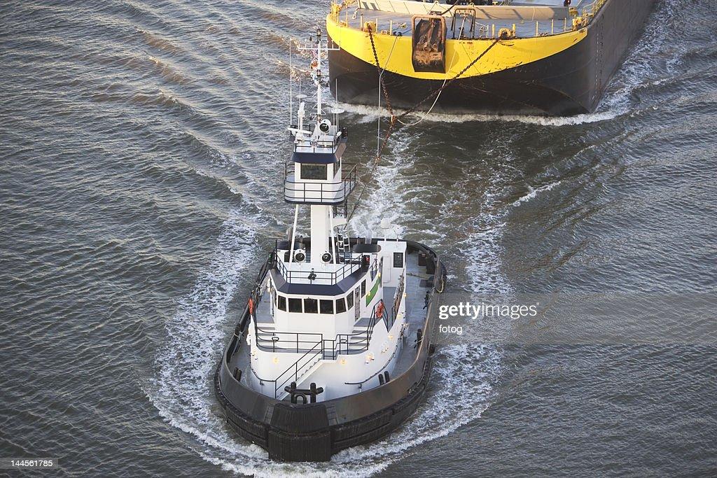 USA, New York state, New York city, high angle view on tugboat