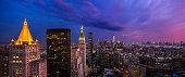 USA, New York State, New York City, Manhattan, Cityscape at dusk