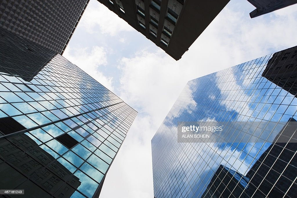 USA, New York State, New York City, Manhattan, Low angle view of skyscrapers