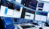USA, New York State, New York City, Monitors above trading desk