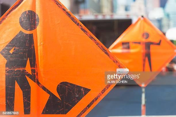 USA, New York State, New York City, Orange road signs